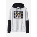 Lovely Cartoon Dog Pattern Colorblocked Long Sleeve Casual Sports Hoodie