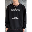 Mens Stylish Letter EVERYSTION Printed Long Sleeve Round Neck Pullover Sweatshirt