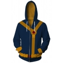 New Fashion 3D Color Block Cosplay Costume  Long Sleeve Navy Zip Up Hoodie