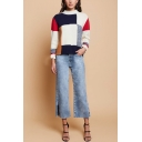 Ladies Fashion Simple Colorblock Print Round Neck Long Sleeve Ribbed Knit Sweater