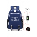 Mother of Dragons Letter Printed Creative USB Charge Laptop Bag School Backpack 30*15*44cm