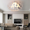 Black/White Cage Semi Flush Light 3 Light Contemporary Metal Ceiling Light for Living Room