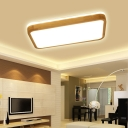 Living Room Rectangle Flush Mount Ceiling Light Wood Modern Ceiling Light Fixture in Natural