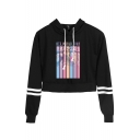 Fashion Kpop Boy Band World Tour Printed Striped Long Sleeve Crop Hoodie