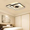 Black Geometric Ceiling Flush Light LED Modern Simple Metallic Ceiling Lamp for Sitting Room