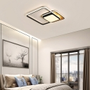 Wood Canopy Square Ceiling Light Fixture LED Nordic Style Flushmount Lighting for Living Room