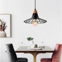 Wire Cage Pendant Light Fixtures Vintage Industrial Single-Bulb Hanging Restaurant Lamp