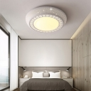 Contemporary Circle Flush Mount Ceiling Light Metal White Flush Mount for Living Room