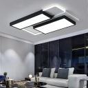 Acrylic Rectangle/Square Ceiling Light Living Room Contemporary Metal Flush Mount in Black