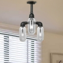 Black Pipe Ceiling Light Fixtures Industrial Iron 3 Light Close to Ceiling Light for Hallway
