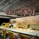Cubic Shade Pendant Lamps Rustic Wood 2 Light Ceiling Pendant Light with Adjustable Chain for Restaurant