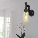 Amber Sconce Lighting Fixtures Antique Metal and Glass 1 Bulb Pipe Sconce Lights for Foyer