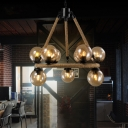 Ball Pendant Ceiling Lights Rustic Rope and Glass 9 Lights Hanging Lights for Living Room
