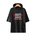 Fashion Letter Scott Schrute Printed Short Sleeve Hooded Casual Relaxed T-Shirt
