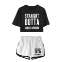 Summer Fashion Letter Straight Outta Dunder Mifflin Printed Crop Tee with Dolphin Shorts Two-Piece Set