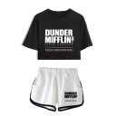 Fashion Letter Dunder Mifflin Printed Short Sleeve Crop Tee with Dolphin Shorts Two-Piece Set