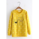 Cute Cartoon Cat Embroidered Polka Dot Pattern Round Neck Long Sleeve Sweatshirt
