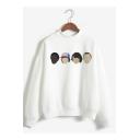 Popular Figure Letter Printed Mock Neck Long Sleeve Loose Fit Sweatshirt