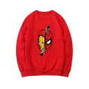 Popular Spiderman Printed Round Neck Long Sleeve Pullover Sweatshirt
