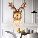 Resin Deer Wall Lighting Art Deco Hand Painted Wall Mounted Light with Globe Shade