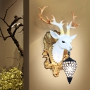 Black/White Deer Wall Mounted Light Village Style 1 Light Wall Light Fixture with Crystal Lampshade