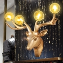 Resin Stag Head Wall Lamp with Glass Shade 4 Lights Decorative Wall Mount Lighting