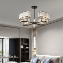 Novelty Chandelier Light Modern Iron Crystal Ceiling Chandelier in Black and Brass for Living Room