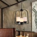 5 Light Black Ceiling Chandelier Pendant Minimalist Iron Milk White Glass Ceiling Chandelier for Restaurant