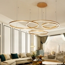 Brass Multi Ring Hanging Ceiling Light Modernism Metal Led Pendant Light for Home