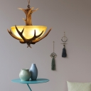Country Style Bowl Chandelier Glass and Wood 3 Lights Brown Pendant Light with Antlers for Bedroom