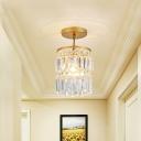 Unique Crystal Fringe Semi Flush Mount for Foyer, Contemporary Iron 1 Light Semi Flush in Gold