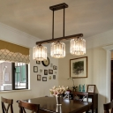 Cylinder Hanging Lamps Modern Iron and Crystal 3 Light Island Pendant over Kitchen Island