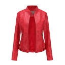 Women's Stand Collar Long Sleeve Faux Leather Motorcycle Power Shoulder Jacket