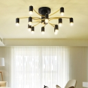 Exposed Bulb Flush Lighting with Curved Arm Contemporary Metal Ceiling Light in Black/Gold