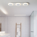 Linear Flush Mount Lighting with Acrylic Shade Modern White Led Ceiling Light for Indoor