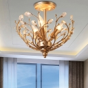 Gold Candle Ceiling Light Fixture Traditional Crystal 3 Light Ceiling Lights for Balcony