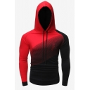 Mens Popular Fashion Ombre Color Long Sleeve Slim Fitted Casual Sports Drawstring Hoodie