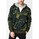 Men's Popular Fashion Cool Camouflage Printed Long Sleeve Zip Up Hoodie
