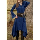 New Stylish Vintage Medieval Retro Long Sleeve Lace-Up Front Plain Asymmetric Hem Mini Dress