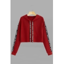 Popular Letter Print Long Sleeve Loose Cropped Hoodie