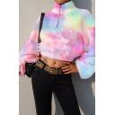 Stylish Half-Zip Stand Up Collar Colorful Long Sleeve Fluffy Teddy Crop Sweatshirt