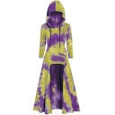 New Stylish Tie-Dyed Long Sleeve High Low Hem  Loose Fit Hooded Midi Dress