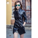 Womens Unique Style Notched Lapel Button Front Long Sleeve PU Black Jacket