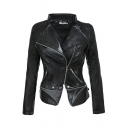 Women's Cool Lapel Collar Long Sleeve Plain Zipper Placket Biker PU Cropped Zip Up Jacket