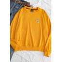 Simple Print Round Neck Long Sleeve Loose Pullover Sweatshirt