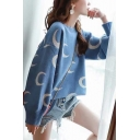 Ladies Casual Moon Print Round Neck Bloom Sleeve Boxy Sweater