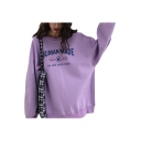 Unique Cool Letter HUMAN MADE Printed Round Neck Long Sleeve Oversized Sweatshirt