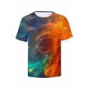 Fancy Universe Galaxy 3D Printed Round Neck Short Sleeve Unisex T-Shirt