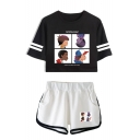 Popular Cartoon Figure Printed Short Sleeve Crop Tee with Dolphin Shorts Sport Two-Piece Set