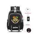 Fashion Harry Potter Hogwarts Logo Print USB Charge School Bag Backpack 30*15*44cm